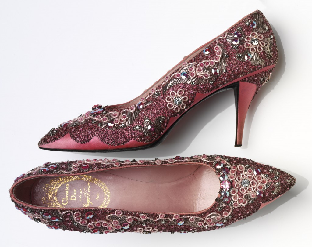 Roger Vivier for Christian Dior, Evevning shoe beaded silk and leather, France 1958-60